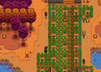 A farmer inspects his autumn crops in Stardew Valley