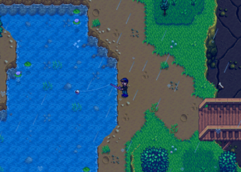A farmer rain fishing in a mountain lake in Stardew Valley
