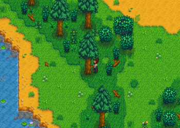 Bob Ross chopping down happy little trees for wood in Stardew Valley