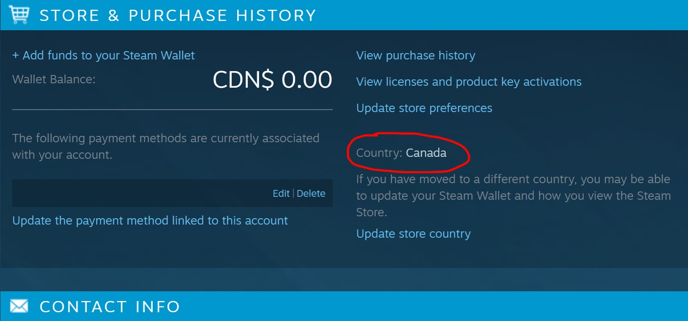 Steam account country canada