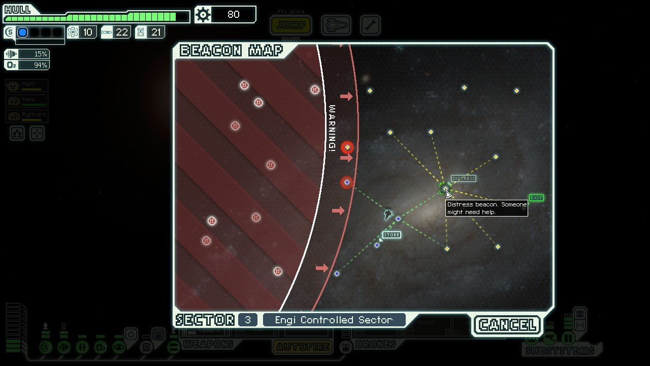 Sector map in FTL: Faster Than Light with enemy fleet close behind